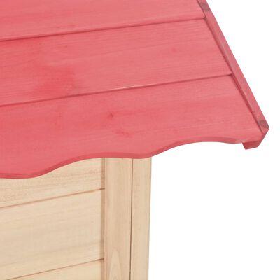 vidaXL Căsuță de joacă pentru copii, roșu, lemn de brad