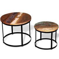 vidaXL Set măsuță cafea 2 piese 40cm/50cm lemn masiv reciclat rotund