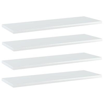 vidaXL Plăci bibliotecă, 4 buc., alb extralucios, 60 x 20 x 1,5 cm PAL