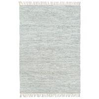 vidaXL Hand-woven Chindi Rug Leather 190x280 cm Light Grey