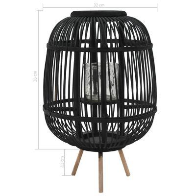 vidaXL Suport lumânări tip felinar vertical, negru, bambus