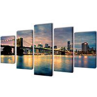 Set tablouri de perete din pânză, model podul Brooklyn, 100 x 5 cm
