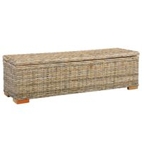 vidaXL Ladă de depozitare, 120 cm, ratan kubu și lemn masiv de mango