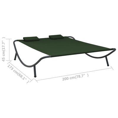 vidaXL Pat șezlong de exterior, verde, material textil