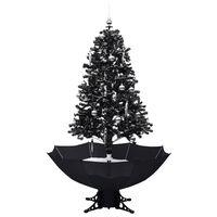vidaXL Brad de Crăciun cu ninsoare și bază umbrelă, negru, 170 cm, PVC