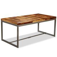 vidaXL Masă de bucătărie, lemn masiv de sheesham și oțel, 180 cm