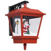 vidaXL Felinar de perete cu leduri și Moș Crăciun, roșu, 40x27x45 cm