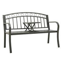 vidaXL Bancă de grădină cu masă, gri, 125 cm, oțel