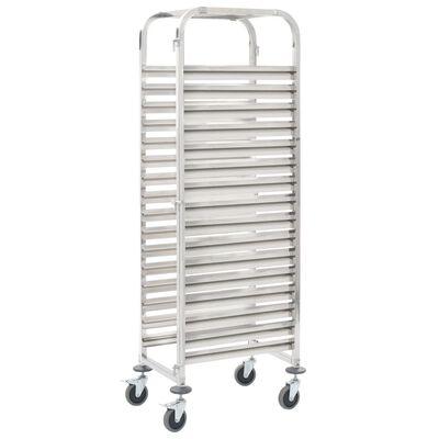 vidaXL Cărucior bucătărie pentru 16 tăvi, 38x55x163cm, oțel inoxidabil