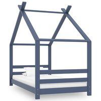 vidaXL Cadru de pat de copii, gri, 80 x 160 cm, lemn masiv de pin
