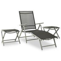 vidaXL Set mobilier de grădină, 3 piese, argintiu textilenă & aluminiu