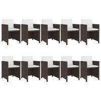 vidaXL Set mobilier de exterior cu perne, 11 piese, maro, poliratan