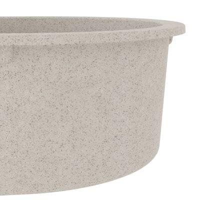 vidaXL Chiuvetă de bucătărie cu orificiu de preaplin, bej, oval, granit