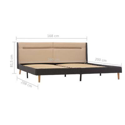 vidaXL Cadru de pat cu LED, crem, 160 x 200 cm, material textil