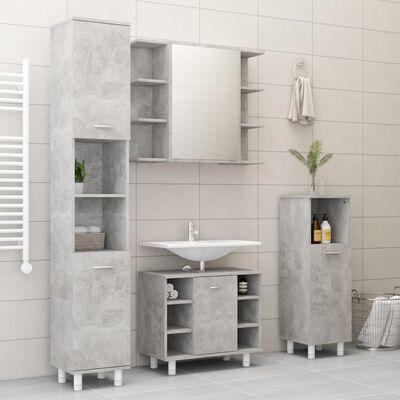 vidaXL Dulap de baie cu oglindă, gri beton, 80 x 20,5 x 64 cm, PAL