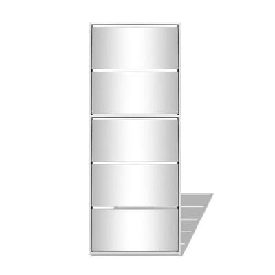 vidaXL Pantofar cu 5 niveluri și oglindă, alb, 63 x 17 x 169,5 cm