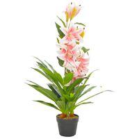 vidaXL Plantă artificială crin cu ghiveci, roz, 90 cm