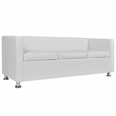 vidaXL Set canapele 3 și 2 locuri și fotoliu, alb, piele artificială