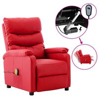 vidaXL Electric Massage Reclining Chair Red Faux Leather (289694+327164)