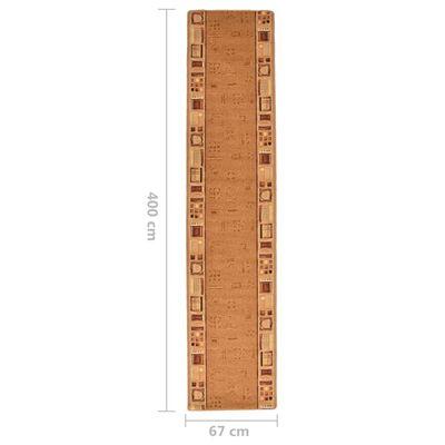 vidaXL Covor traversă, suport gel, bej, 67 x 400 cm