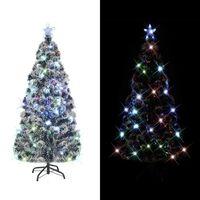 vidaXL Brad artificial de Crăciun cu suport / LED 210 cm fibră optică