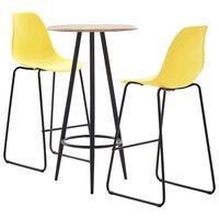 vidaXL Set mobilier de bar, 5 piese, galben, plastic