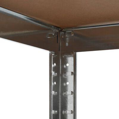 vidaXL Raft de depozitare, argintiu, 75 x 75 x 180 cm, oțel și MDF
