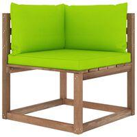 vidaXL Canapea de grădină din paleți colțar, cu perne verde aprins
