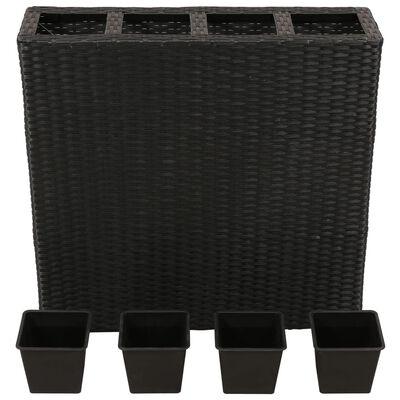 vidaXL Strat înălțat de grădină cu 4 ghivece, negru, poliratan