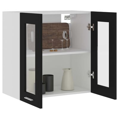 vidaXL Dulap suspendat din sticlă, negru, 60 x 31 x 60 cm, PAL