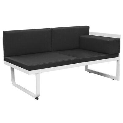 vidaXL Set mobilier grădină, 5 piese, negru, textilenă și aluminiu