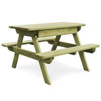 vidaXL Masă de picnic cu bănci, 90 x 90 x 58 cm, lemn de pin tratat