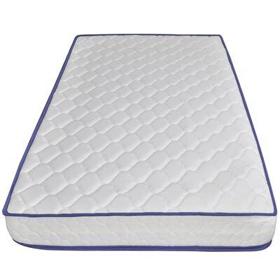 vidaXL Pat cu LED și saltea spumă memorie albastru 160 x 200 cm textil