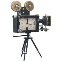 vidaXL Ceas de masă, negru, 34x18x47 cm, fier și MDF