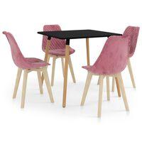 vidaXL Set de masă, 5 piese, roz