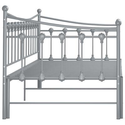 vidaXL Cadru pat canapea extensibilă, gri, 90x200 cm, metal