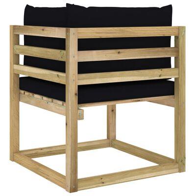 vidaXL Canapea de grădină colțar cu perne, lemn de pin verde tratat