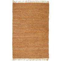 vidaXL Covor țesut manual Chindi din piele, 80 x 160 cm, bronz
