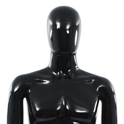 vidaXL Corp manechin masculin, suport din sticlă, negru lucios, 185 cm