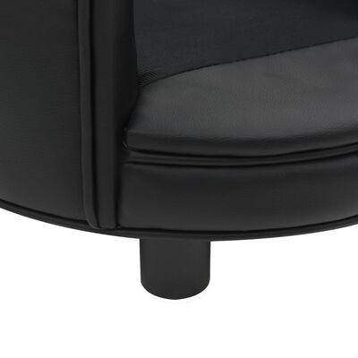 vidaXL Canapea pentru câini, negru, 48x48x32 cm, pluș&piele ecologică