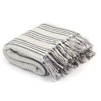 vidaXL Pătură decorativă cu dungi, bumbac, 220 x 250 cm, gri și alb