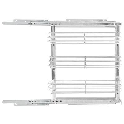 vidaXL Coș sârmă bucătărie retractabil 3 niveluri argintiu 47x15x56 cm