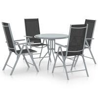 vidaXL Set mobilier grădină, 5 piese, argintiu, aluminiu și textilenă