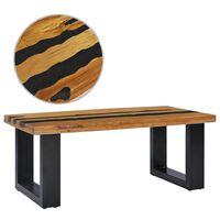 vidaXL Măsuță de cafea 100x50x40cm lemn masiv de tec și piatră de lavă