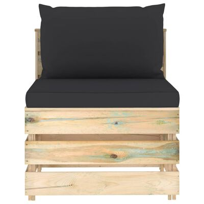 vidaXL Set mobilier de grădină cu perne, 8 piese, lemn verde tratat