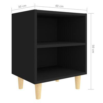 vidaXL Noptiere cu picioare lemn masiv, 2 buc., negru, 40x30x50 cm
