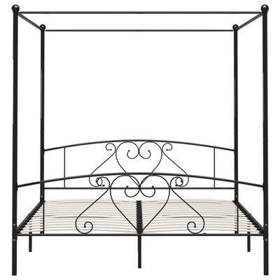 vidaXL Cadru de pat cu baldachin, negru, 200 x 200 cm, metal