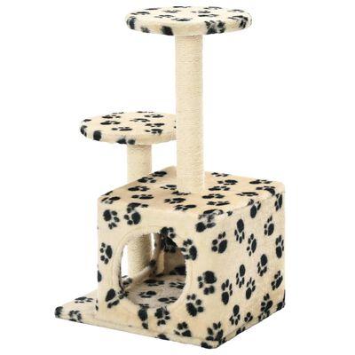 vidaXL Ansamblu pisici, stâlpi funie sisal, 60cm, imprimeu lăbuțe, bej
