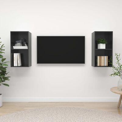 vidaXL Dulapuri TV montaj pe perete, 2 buc., gri extralucios, PAL
