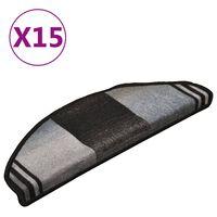 vidaXL Covorașe scări autoadezive, 15 buc., negru și gri, 65x21x4 cm
